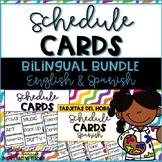 Schedule Cards Bilingual Bundle - English & Spanish -Tarjetas del horario