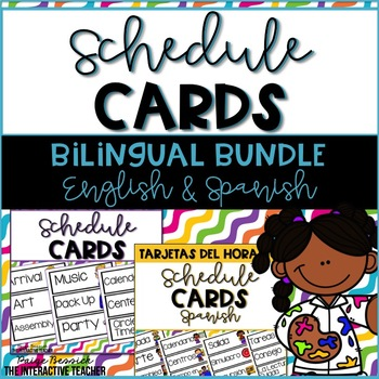 Schedule Cards Bilingual Bundle - English & Spanish -Tarjetas del horario