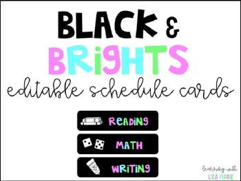 EDITABLE Schedule Cards {Black & Brights}