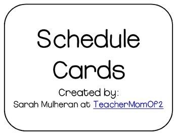 Schedule Cards - Black & White