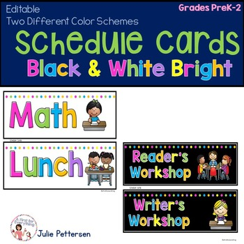 Schedule Cards: Black and White Brights