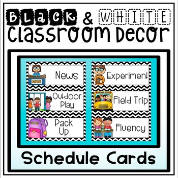 Schedule Cards in a Black and White Chevron Classroom Decor Theme