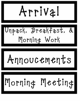 Schedule Cards - Black and White Design