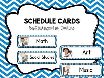 Schedule Cards -Blue Chevron