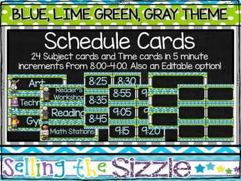Schedule Cards- Blue, Green, Gray theme- with an editable option
