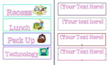 Daily Schedule Cards- Bright Colors with Clipart (EDITABLE)
