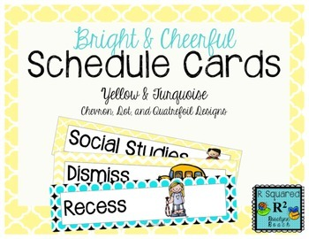 Schedule Cards: Bright & Cheerful, Yellow & Turquoise