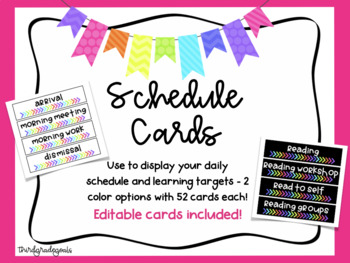 Schedule Cards - Bright Colors!