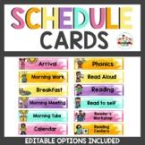 Schedule Cards Bright Watercolor Classroom Decor