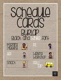 Schedule Cards - Burlap