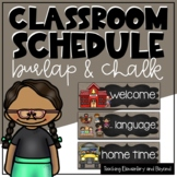Editable Burlap and Chalk Classroom Schedule Cards