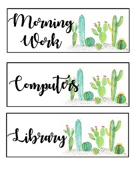 Schedule Cards - Cactus Themed