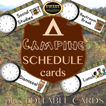 Editable Schedule Cards (Camping Theme)