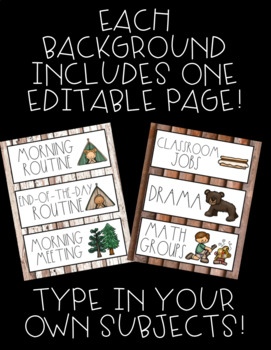 Schedule Cards! Camping Theme! 45 Different Cards, Plus One EDITABLE Page!