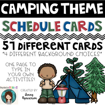 Camping Theme (with Dunn-Inspired Font) Schedule Cards!