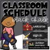 Editable Black Chalk Classroom Schedule Cards