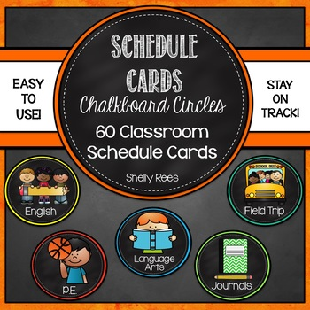 Schedule Cards - Chalkboard Circles with Bright Colors