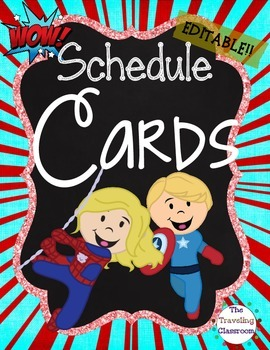 Editable Schedule Cards {Chalkboard Super Hero Theme}