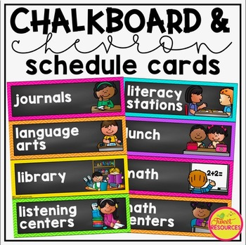 Schedule Cards in Chalkboard and Chevron Classroom Decor {