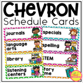 Schedule Cards in Chevron Classroom Decor for Back To School