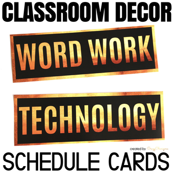 Schedule Cards - Classroom Decor Black and Gold