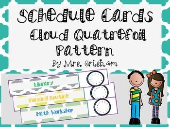 Schedule Cards: Cloud Quatrefoil Pattern with Clocks