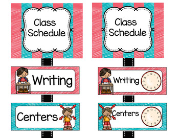 Schedule Cards Coral and Teal