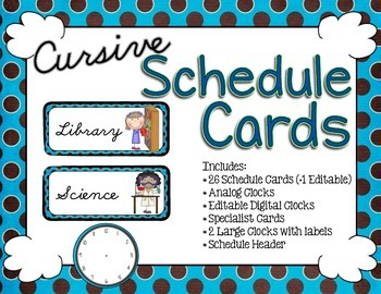 Schedule Cards - Cursive Brown and Blue Dots