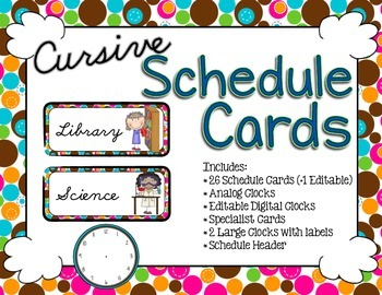 Schedule Cards - Cursive Bubble Dot