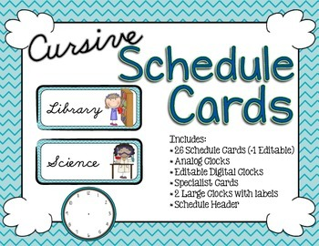 Schedule Cards - Cursive Exotic Sea Chevron