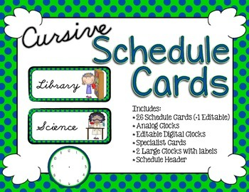 Schedule Cards - Cursive Lime and Navy Dots