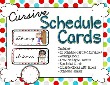 Schedule Cards - Cursive Multi Dots