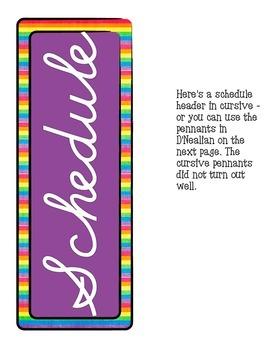 Schedule Cards Cursive - Rainbow