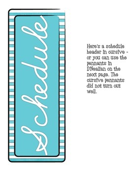Schedule Cards Cursive - Teal and White Stripes