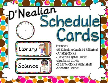 Schedule Cards - D'Nealian Bubble Dots