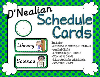 Schedule Cards - D'Nealian Lime and Navy Dots