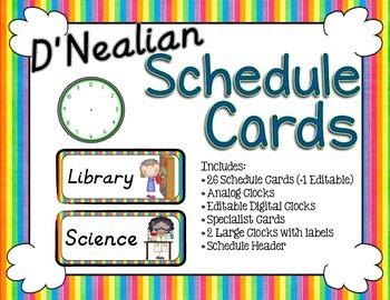 Schedule Cards D'Nealian - Rainbow