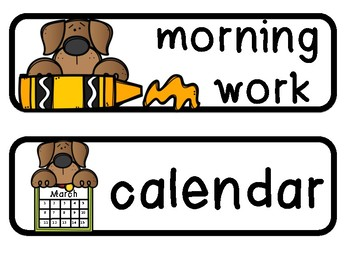 Schedule Cards Dog Theme