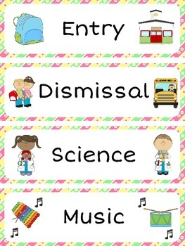 Schedule Cards / Classroom Timetable Labels (48 labels + 4 blank cards)
