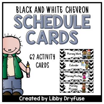 Schedule Cards: EDITABLE! - 62 Activties! {Black & White Chevron}