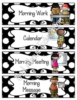 Schedule Cards: EDITABLE! - 62 Activties! {Black & White Polka Dot}