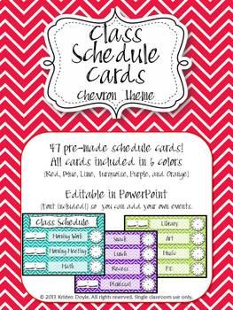 Schedule Cards (EDITABLE) - Chevron