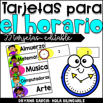Schedule Cards- EDITABLE- SPANISH