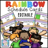 Daily Schedule Cards EDITABLE With Pictures | Schedule Cards EDITABLE Rainbow