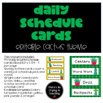 Daily Schedule Cards (Editable):  Cactus Theme