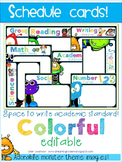 Schedule Cards {Editable} Monster Theme
