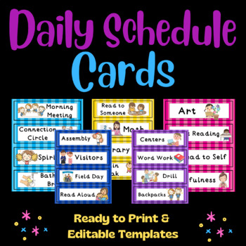 Daily Schedule Cards (Editable): Stripes