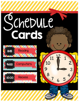Schedule Cards - Editable - Teal Yellow Red
