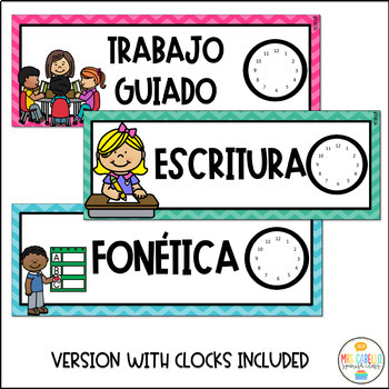Daily Schedule Cards Editable and labeled in Spanish