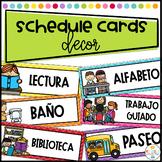 Daily Schedule Cards Labeled in Spanish - Tarjetas de Horario
